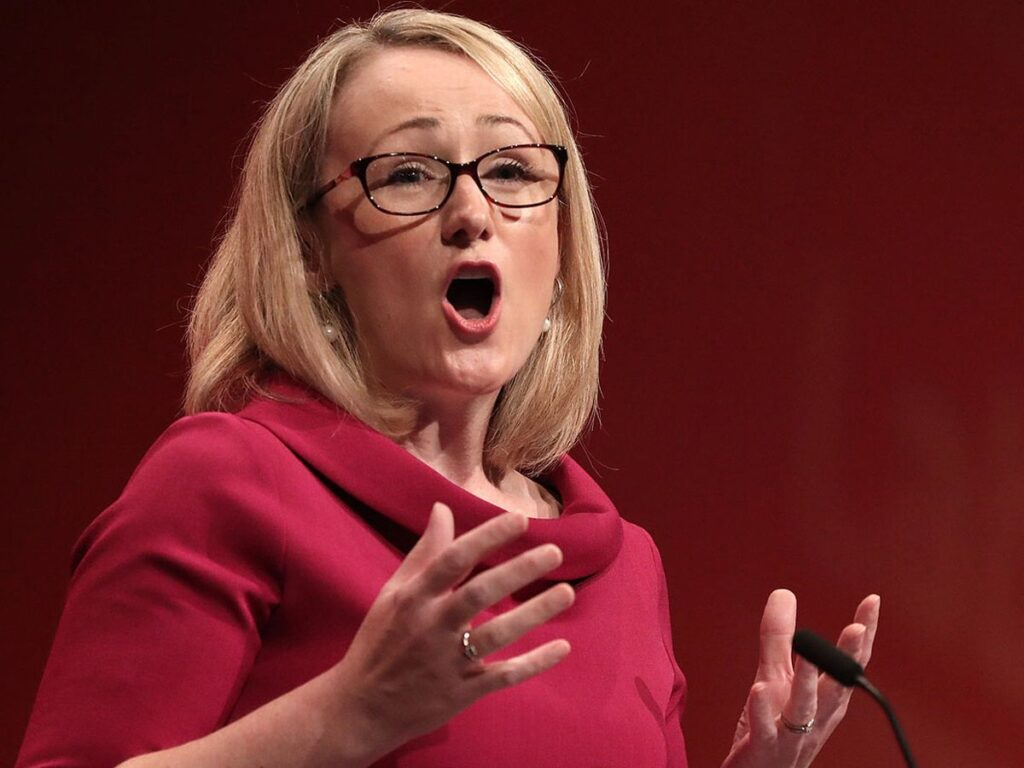 Rebecca Long Baily in red